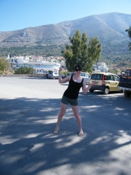 It's me, being a dork in the Carpark at Emponas Village. Please note: this is BEFORE any wine tastings