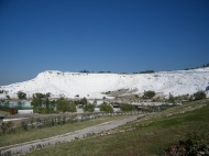Looking up the hill at the calcium terraces at Pamukkale