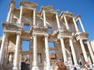 The towering library facade at Ephesus