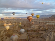 Another aerial shot of the rock formations in the Cappadocia area from How Air Balloon