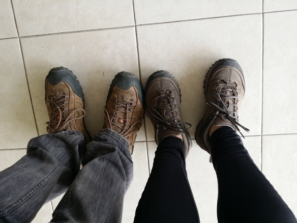Our walking shoes. Super comfy ones by Merrell